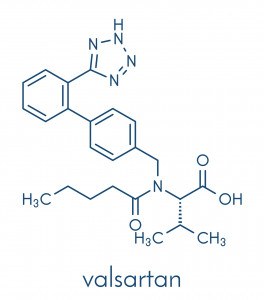 Valsartan high blood pressure (hypertension) drug. Inhibitor of